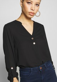 Dorothy Perkins - DOUBLE BUTTON COLLARLESS ROLL SLEEVE - Blouse - black - 5