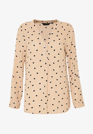 DOUBLE BUTTON COLLARLESS ROLL SLEEVE - Camicetta - camel