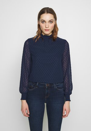 SHEERED NECK DOBBY LONGSLEEVE TOP - Blouse - navy