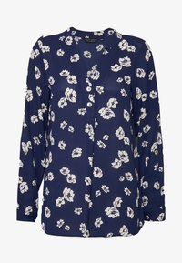 Dorothy Perkins - FLORAL DOUBLE BUTTON COLLARLESS ROLL SLEEVE - Bluser - navy - 5