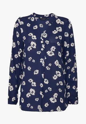 FLORAL DOUBLE BUTTON COLLARLESS ROLL SLEEVE - Bluzka - navy