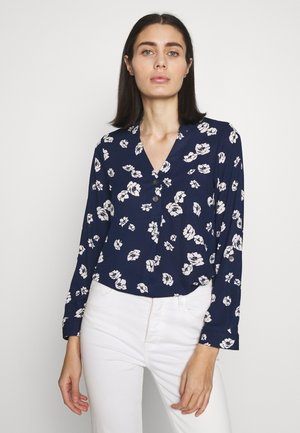FLORAL DOUBLE BUTTON COLLARLESS ROLL SLEEVE - Pusero - navy