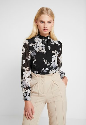FLORAL SHIRRED NECK TOP - Pusero - black