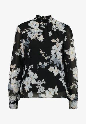 FLORAL SHIRRED NECK TOP - Pusero - black