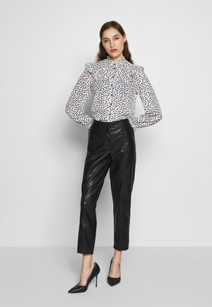 FRILL YOKE BUTTON THROUGH - Blouse - black/white