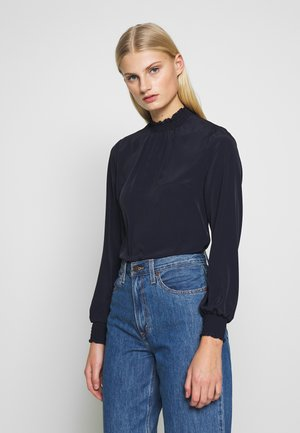 PLAIN SHIRRED NECK TOP - Blouse - navy