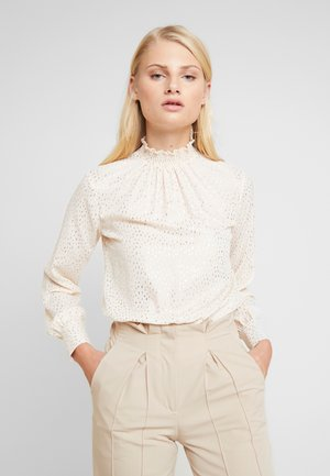 FOIL SHIRRED NECK - Blus - blush