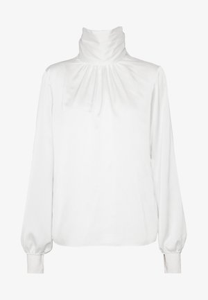 TIE NECK LONG SLEEVE TOP - Blusa - ivory