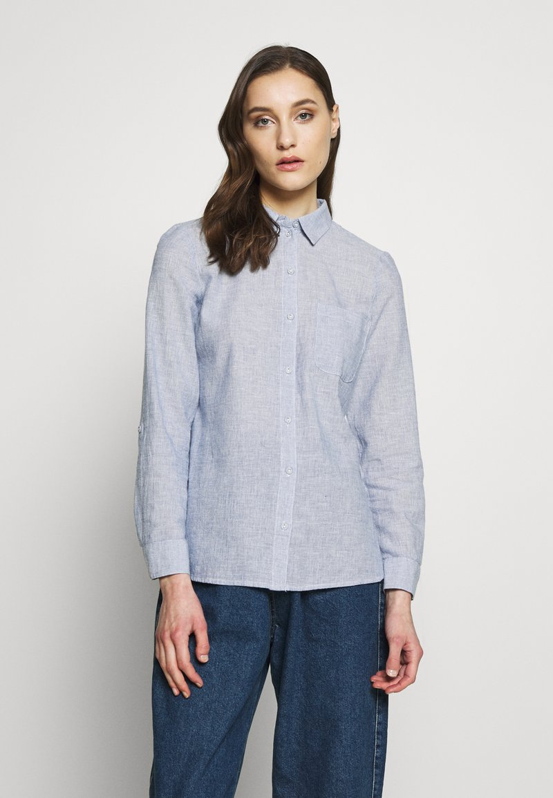 Dorothy Perkins - CLOSED COLLAR - Button-down blouse - chambray