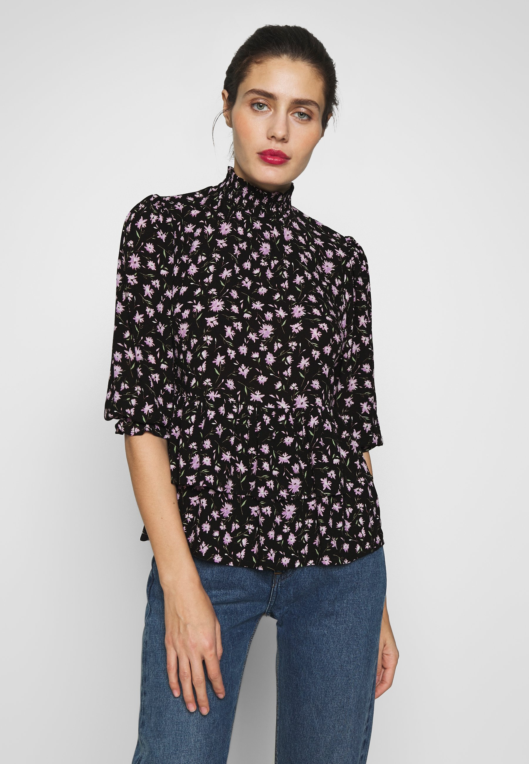 Dorothy Perkins PRINT SHIRRED HIGH NECK - Bluser - black
