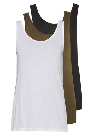 3 PACK - Top - black, khaki, white