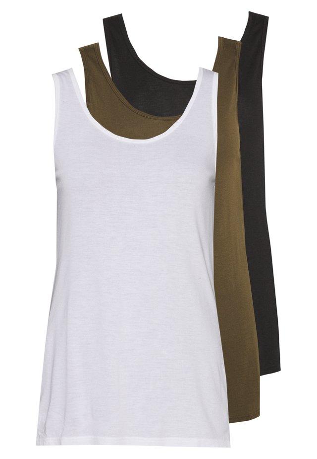 3 PACK - Linne - black, khaki, white