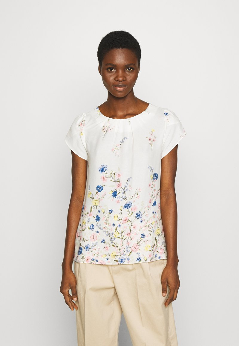 Dorothy Perkins - BILLIE AND BLOSSOM FLORAL BOARDER SHELL - Blouse - white