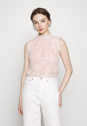 BILLIE BLACK LABEL BLUSH LACE RUFFLE NECK SHELL TOP - Bluser - blush