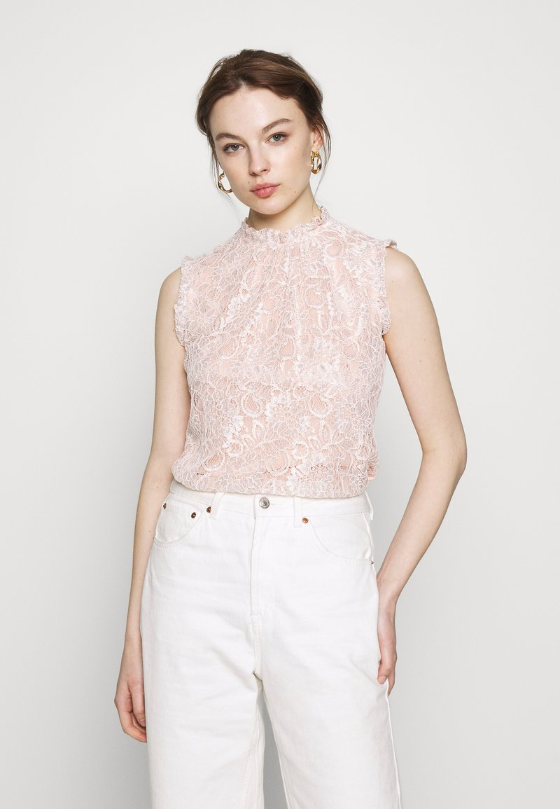 Dorothy Perkins - BILLIE BLACK LABEL BLUSH LACE RUFFLE NECK SHELL TOP - Bluser - blush