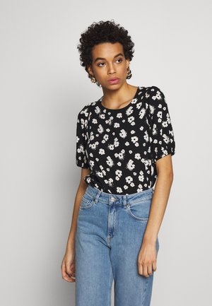 MONO DAISY FLORAL PUFF SLEEVE - Bluse - black