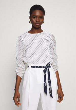 IVORY SPOT ROUCHED SLEEVE DETAIL - Blouse - ivory