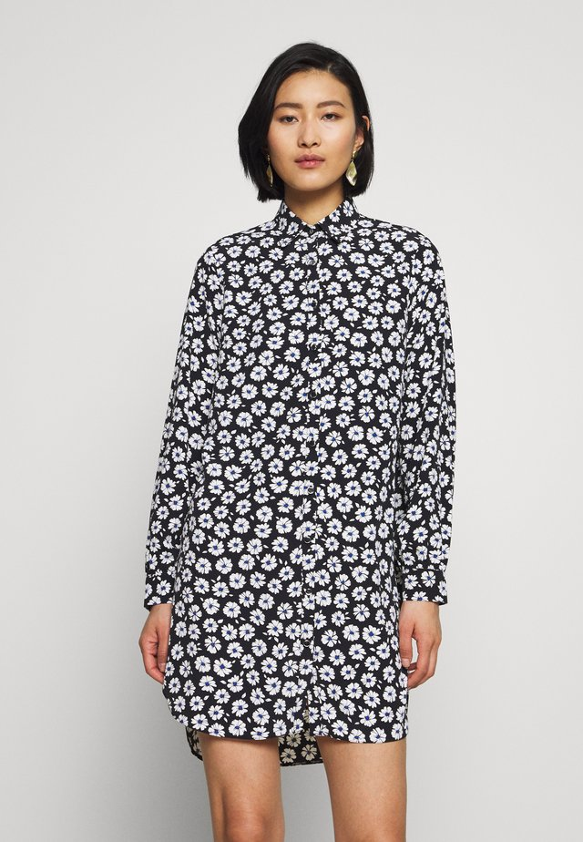 COBALT DAISY LONGLINE - Button-down blouse - black