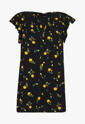 DITSY BUTTON THROUGH CRINKLE - Button-down blouse - black