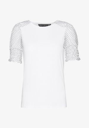 DOBBY CONTRAST PUFF SLEEVE TEE - T-shirt imprimé - white