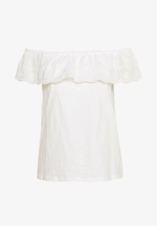 BROIDERY TIER BARDOT - Printtipaita - white