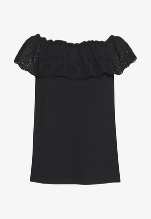 BROIDERY TIER BARDOT - T-shirt con stampa - black