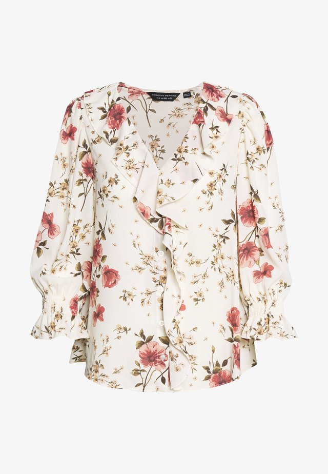 FLORAL RUFFLE FRONT - Bluser - cream