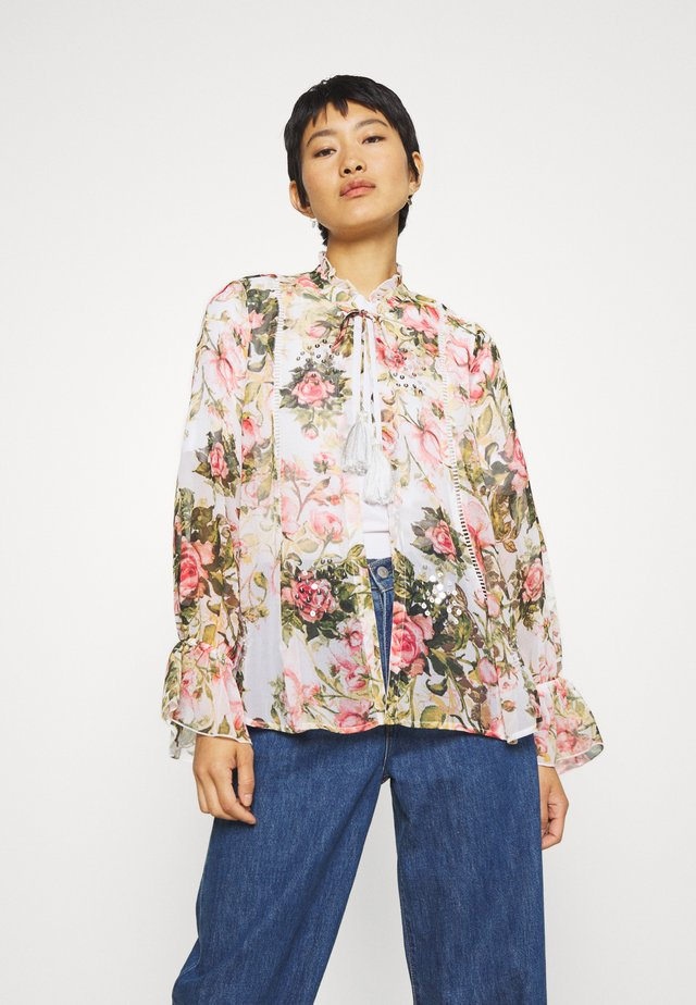 FLORAL PRINTED SEQUIN COVER UP - Leichte Jacke - blush