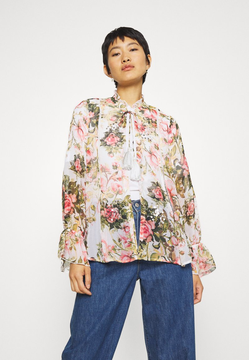 Dorothy Perkins - FLORAL PRINTED SEQUIN COVER UP - Lett jakke - blush