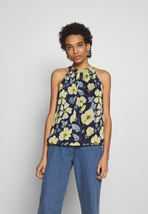FLORAL BUBBLE HEM - Blouse - navy