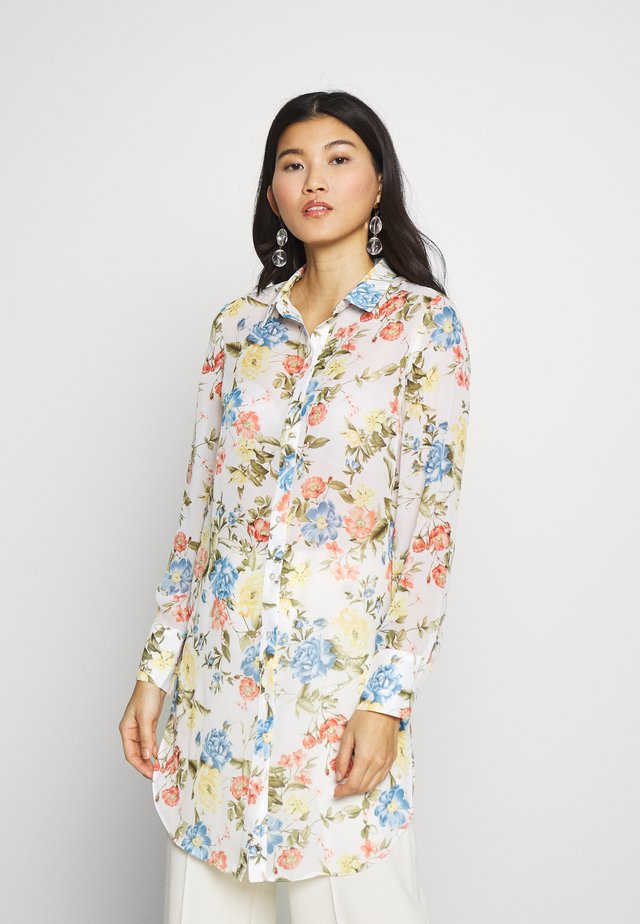 FLORAL LONG LINE - Button-down blouse - ivory