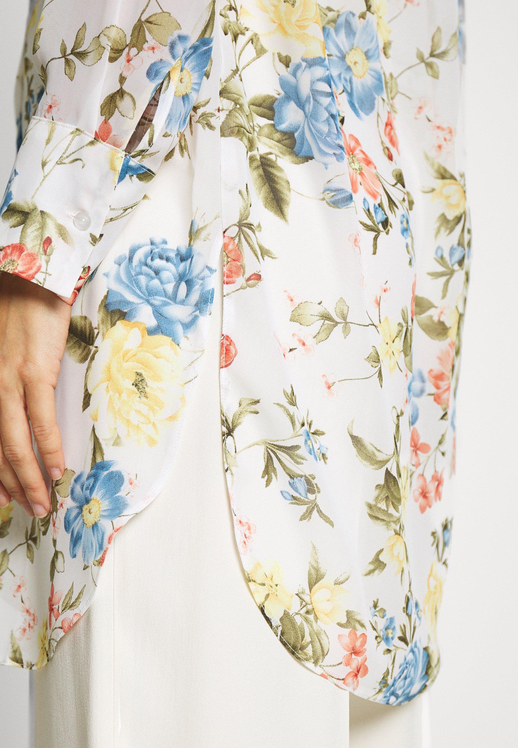 Dorothy Perkins FLORAL LONG LINE - Koszula - ivory