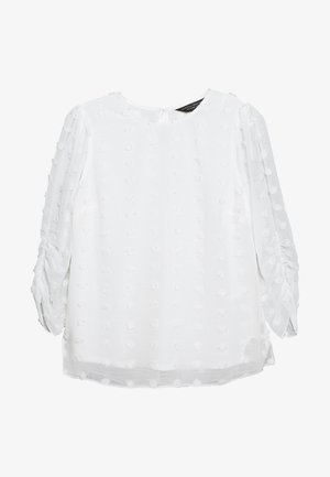 FLOCKED ROUCHED THREE QUARTER SLEEVE - Bluser - ivory