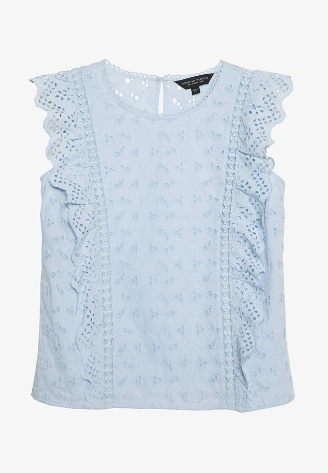 BRODERIE SLEEVELESS - Bluzka - pale blue