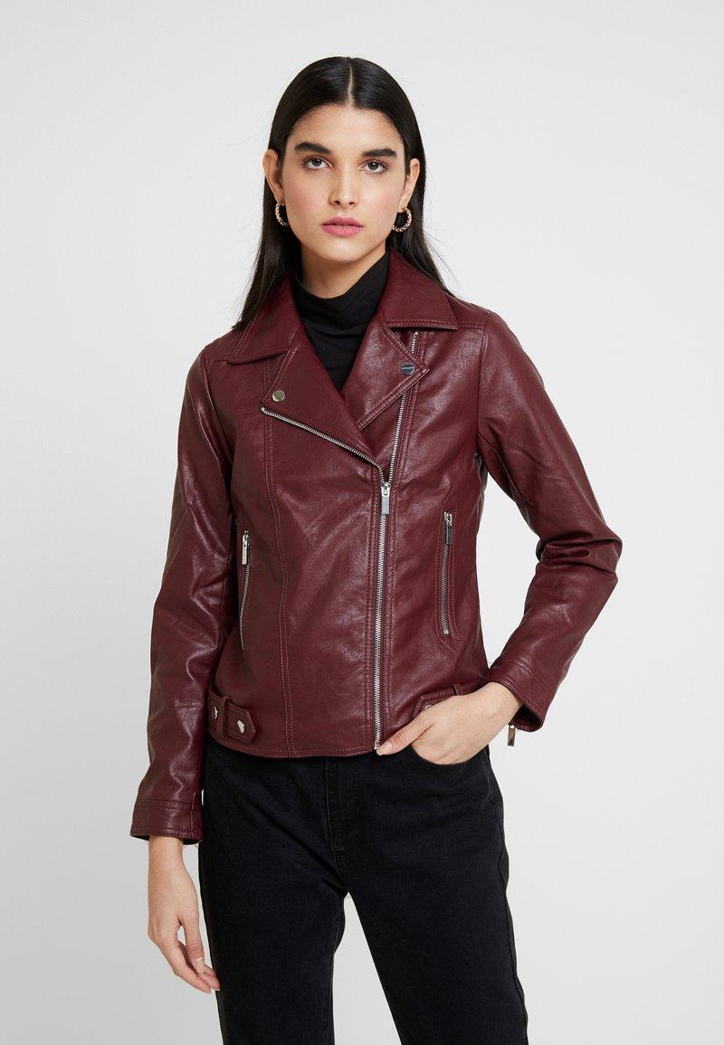 Dorothy Perkins - BIKER JACKET - Faux leather jacket - berry