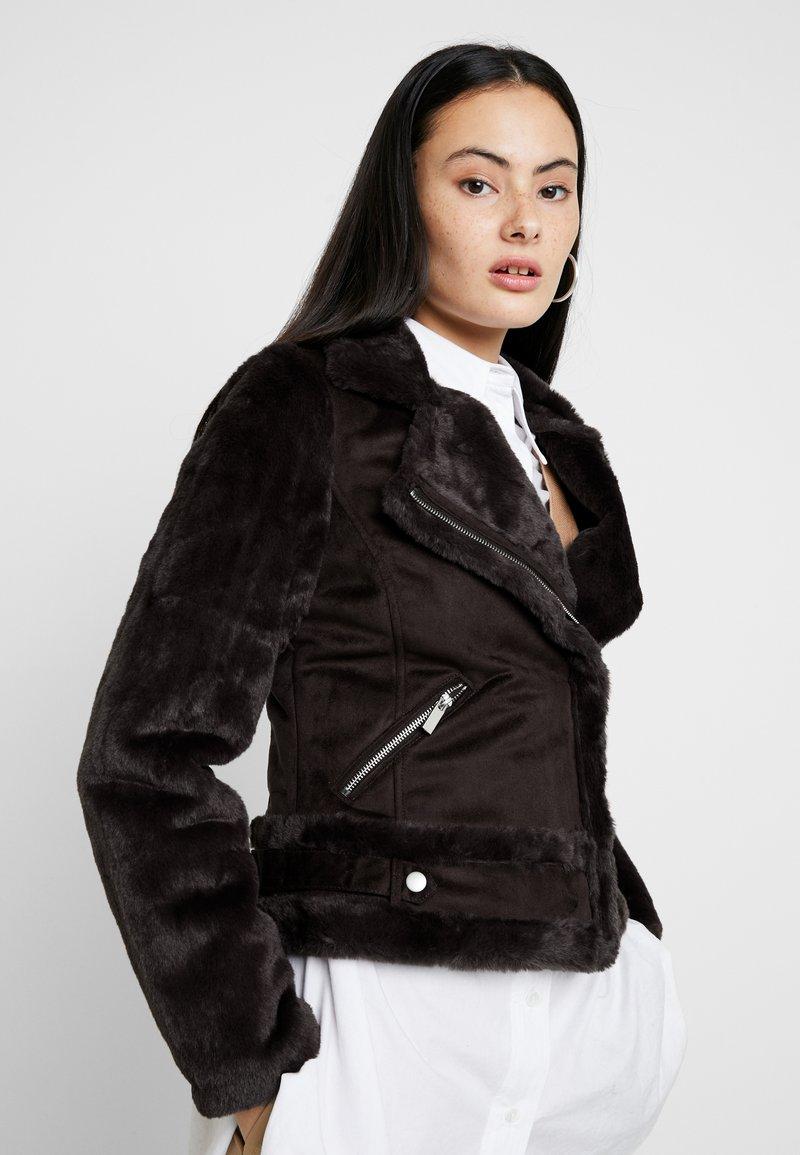 Dorothy Perkins - SLEEVE BIKER - Faux leather jacket - chocolate