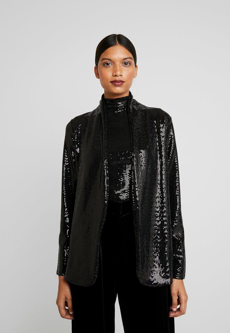 Dorothy Perkins - SEQUIN - Halflange jas - black