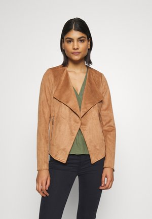 SUEDETTE WATERFALL JACKET - Faux leather jacket - tan
