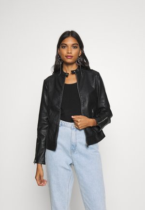 COLLARLESS UPDATE - Faux leather jacket - black