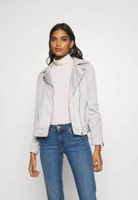 Dorothy Perkins - SUEDETTE BIKER JACKET - Imitert skinnjakke - light grey - 0