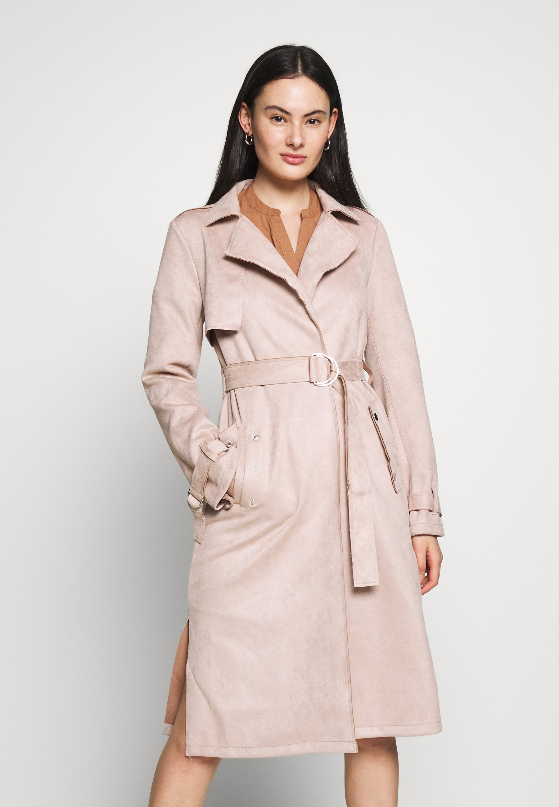 Dorothy Perkins - SUEDETTE DRING TRENCH COAT - Trenchcoat - blush