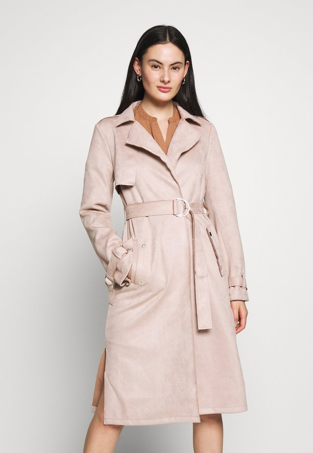SUEDETTE DRING TRENCH COAT - Trenssi - blush