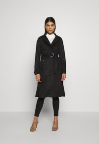 Dorothy Perkins - SUEDETTE DRING TRENCH COAT - Trenchcoat - black - 1