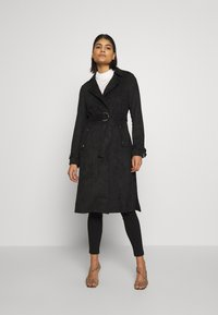 Dorothy Perkins - SUEDETTE DRING TRENCH COAT - Trenchcoat - black - 0