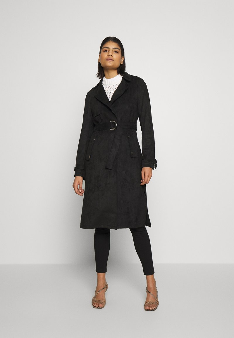 Dorothy Perkins - SUEDETTE DRING TRENCH COAT - Trenchcoat - black