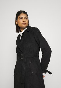 Dorothy Perkins - SUEDETTE DRING TRENCH COAT - Trenchcoat - black - 3