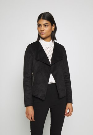 SUEDETTE WATERFALL JACKET - Imitert skinnjakke - black