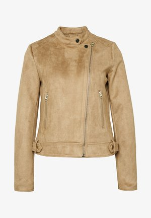 SUEDETTE COLLARLESS JACKET - Giacca in similpelle - tan
