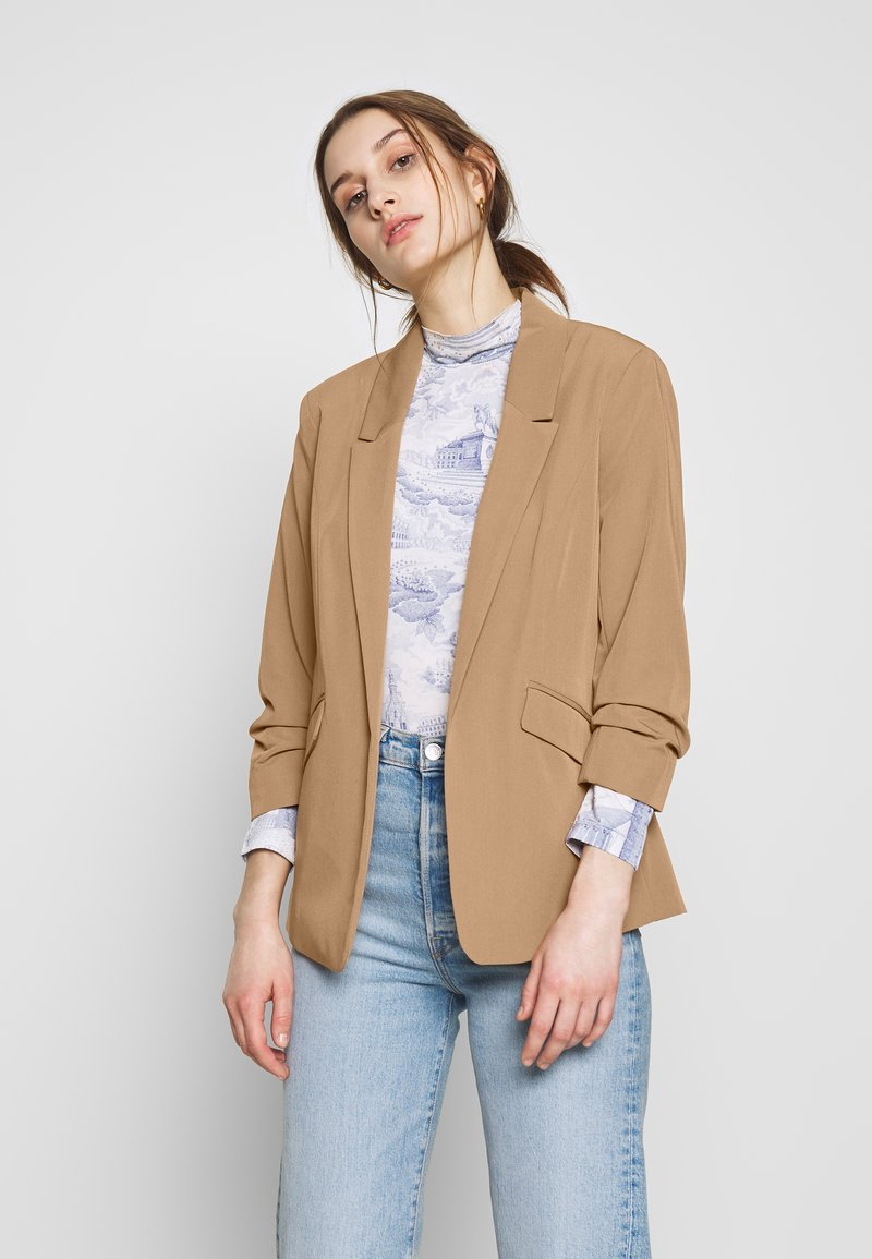 Dorothy Perkins - CAMEL EDGE TO EDGE JACKET - Blazer - light brown