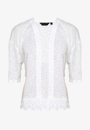 CROCHET HEM KIMONO - Cardigan - white